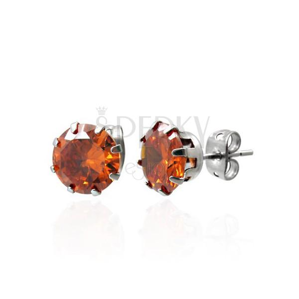Steel earrings with orange zircon - 7 mm