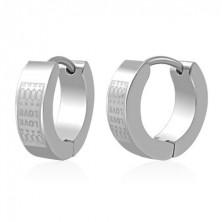 Huggie steel earrings - matt LOVE pattern