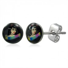 Stainless steel stud earrings - catwoman