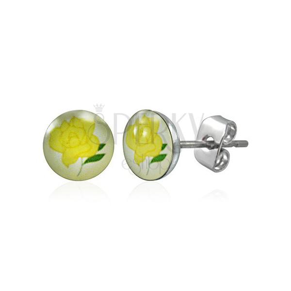 Stainless steel earrings - yellow rose