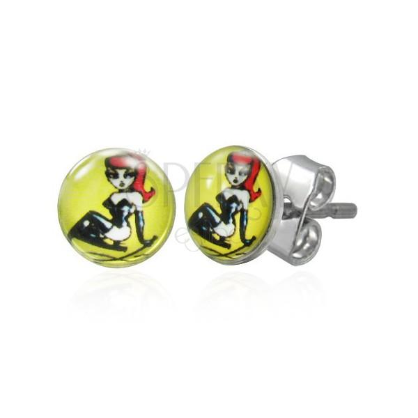 Stud steel earrings - sexy woman
