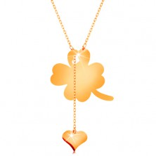 Necklace made of yellow 14K gold - four-leaf clover and dangling heart, shiny chain