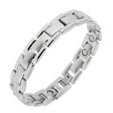 "Bracelet made of 316L steel, ""Y"" links with magnets, silver hue"