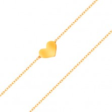 Bracelet made of yellow 14K gold - small symmetric and flat heart, fine chain
