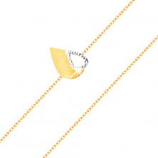14K gold bracelet - thin chain, bicoloured flat heart with cut-out