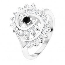 Ring in silver colour, big spiral composed of clear zircons with black centre