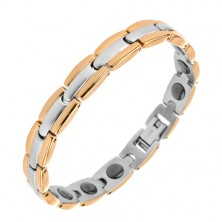 Bracelet made of surgical steel, Y - links in combination of gold and silver colours