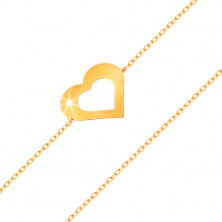 Bracelet made of yellow 14K gold - fine chain, flat heart contour, shiny smooth surface