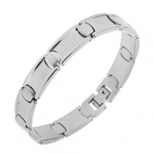 Steel bracelet, elongated and oval links, matt centre and shiny border