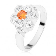 Ring in silver hue, glossy clear flower with orange centre