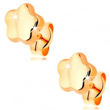 585 gold earrings - shiny mirror-like and smooth flower, stud fastening