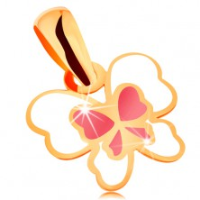 Pendant made of yellow 14K gold, butterfly decorated with white and pink glaze