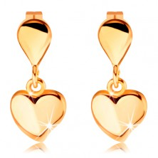 Stud earrings made of yellow 14K gold - small teardrop and dangling heart