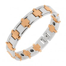 Magnetic bracelet made of 316L steel, bicoloured, shiny surface