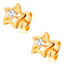 14K gold earrings - glossy stars with clear zircon in the middle