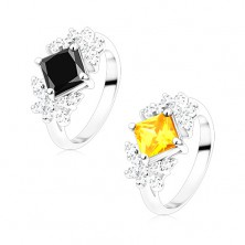 Ring in silver hue, coloured zircon square, clear butterflies