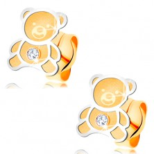 585 gold earrings - bicoloured bear with matt surface, shiny contour