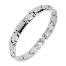 Bracelet made of surgical steel, silver hue, matt centre and shiny edges
