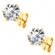 Earrings made of yellow 14K gold - clear round zircon in mount, 6 mm