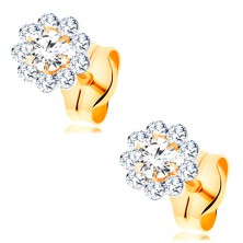 Earrings made of yellow 14K gold - sparkly flower made of round clear zircons