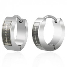 Huggie steel earrings - engraved black pattern