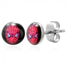 Steel earrings SPIDERMAN, stud fastening