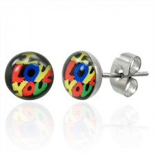 Stud steel earrings in Murano style - I LOVE YOU