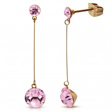 Earrings made of 316L steel in copper colour, thin post, two pink zircons