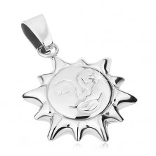Pendant made of surgical steel, silver colour, shiny two-sided sun