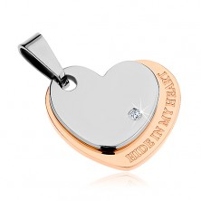 Pendant made of 316L steel, heart in silver and copper colours, zircon, inscription