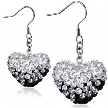 Black-white earrings made of surgical steel, glossy heart with zircons, Afrohooks