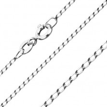 Chain made of 925 silver, smooth oval links, 1,3 mm