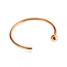Nose piercing made of pink 14K gold - shiny circle ending in ball