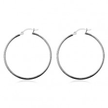 Earrings made of 925 silver - shiny smooth circles, high-gloss, 40 mm