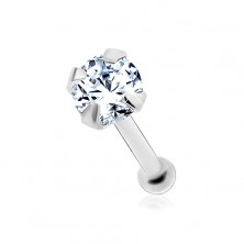 Straight nose piercing made of white 14K gold - round clear zircon, 2 mm