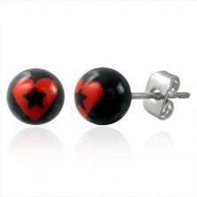 Stud steel earrings - heart with star