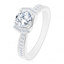 Engagement 925 silver ring, sparkly clear zircon, two glossy arcs
