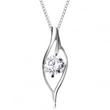 925 silver necklace, asymmetric grain contour with sparkly clear zircon