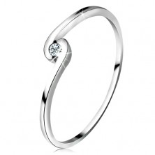 Ring made of white 14K gold - round clear diamond between curved shoulders