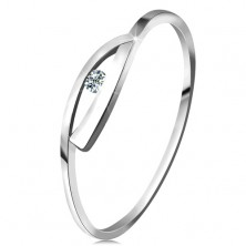 Ring made of white 585 gold with sparkly diamond, shiny waved shoulders