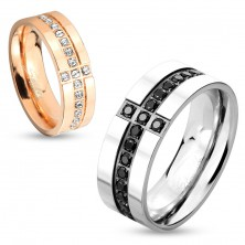 Band made of surgical steel in silver colour, decorative lines of black zircons, 8 mm