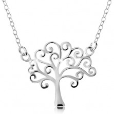 925 silver necklace, thin chain and pendant - shiny tree of life