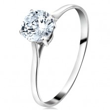 Ring made of white 14K gold - big round zircon in clear colour, narrow shoulders