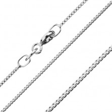 925 silver chain, densely joined shiny angular links, 1,1 mm