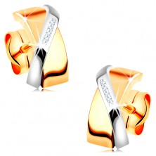 Bicoloured earrings made of 14K gold - overlapping arcs, clear zircons