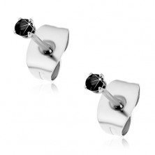 Earrings made of 316L steel, silver colour, round zircon in black colour, 2 mm