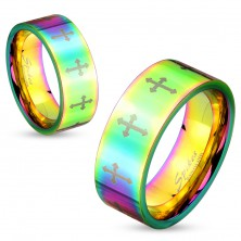 Coloured steel ring with shiny surface and crosses in silver colour, 6 mm