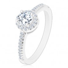 Engagement ring - 925 silver, sparkly round zircon in clear colour in glossy circle