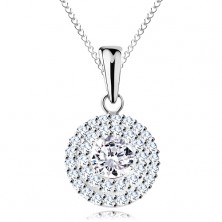 925 silver necklace - pendant and chain, round clear zircon in double contour