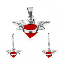 Set of earrings and pendant made of 925 silver, red winged heart, ribbon, crown